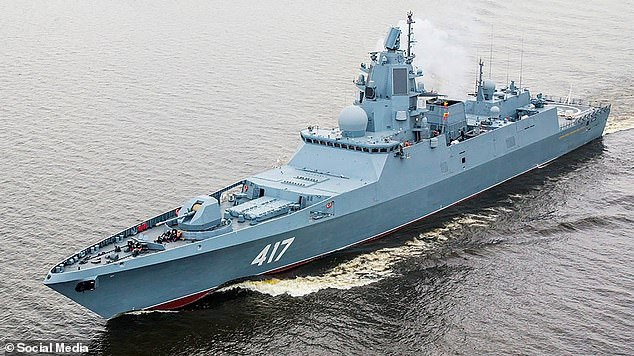 Pictured:The The Admiral Gorshkov frigate, from which the Zircon test missile was launched