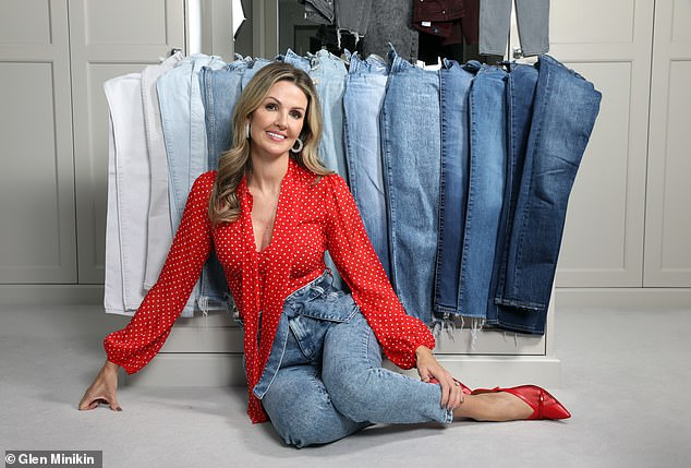 Emma Worthington from Rishworth near Halifax, West Yorkshire who has a collection of 60 pairs of jeans. She keeps a third of them in storage and swaps them around each season
