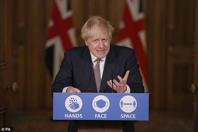 Boris Johnson was at war with his own MPs last night over virus curbs that could keep 99 per cent of the country in 'virtual lockdown' until spring