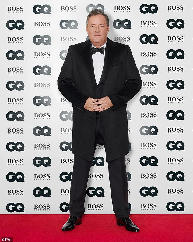 Dressed up: Piers took to the red carpet in a three piece suit and bow-tie