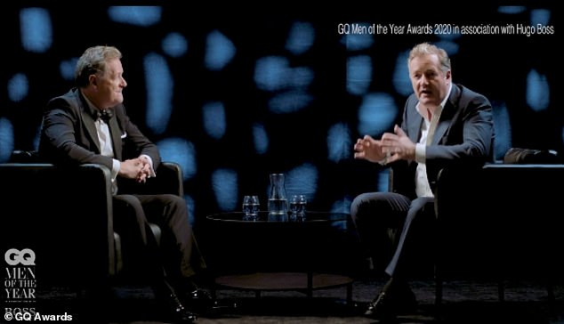 Funny: 'He's Piers Morgan, GQ's TV Personality Of The Year and tonight he's going to be interviewed by me,' to which another Piers appeared on screen.