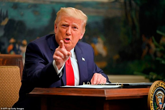 President Donald Trump is seen above on Thursday snapping at a White House reporter during a question-and-answer session.