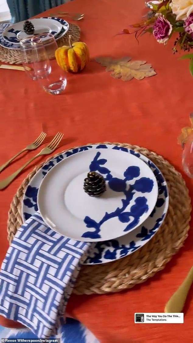 Mother's touch: Witherspoon had plenty of added touches to the dinner table decoration