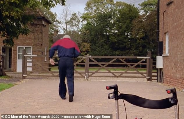 Inspiration: Captain Sir Tom Moore, 100, ditched his zimmer frame to go FREE RUNNING in his video acceptance speech for the Inspiration Awards at theGQ Men Of The Year Awards