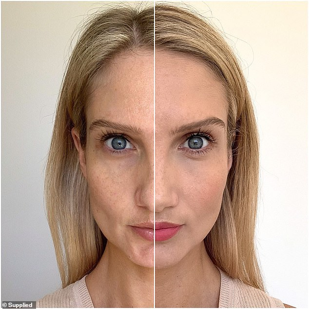 MCo promise that their $24 product will provide 24 hours of 'oil and shine control', as well as a 'lightweight breathable formula' (pictured before and after application)