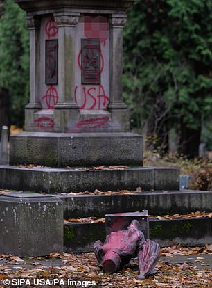 Memorial dedicated to war veterans is vandalized and a statue is toppled in Portland
