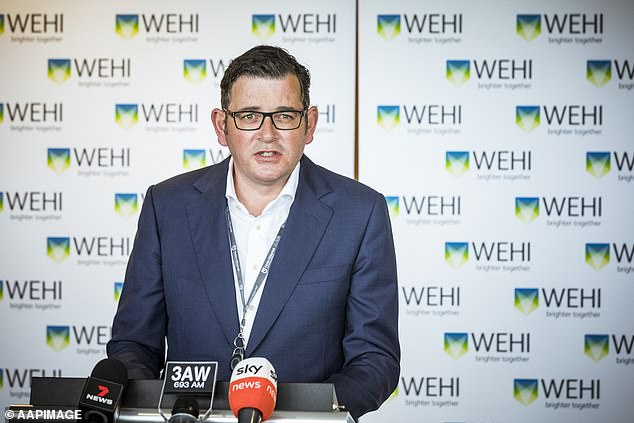 Secret text messages sent by Daniel Andrews to his chief of staff about Victoria's hotel quarantine program have been released. Mr Andrews pictured addressing the media on Thursday