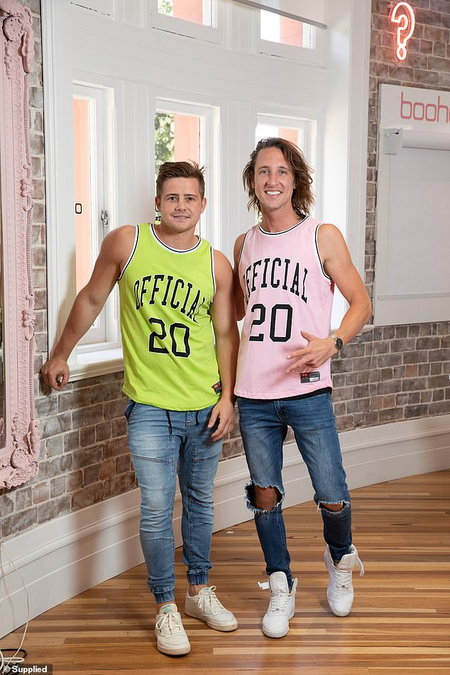 Perfect match: Best friends Mikey Pembroke (left) and Ivan Sarakula (right) opted for matching tank tops, both emblazoned with 'OFFICIAL 20'