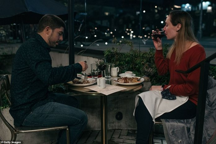 New York, New York: A couple dines out for Thanksgiving dinner in the Brooklyn borough of New York City