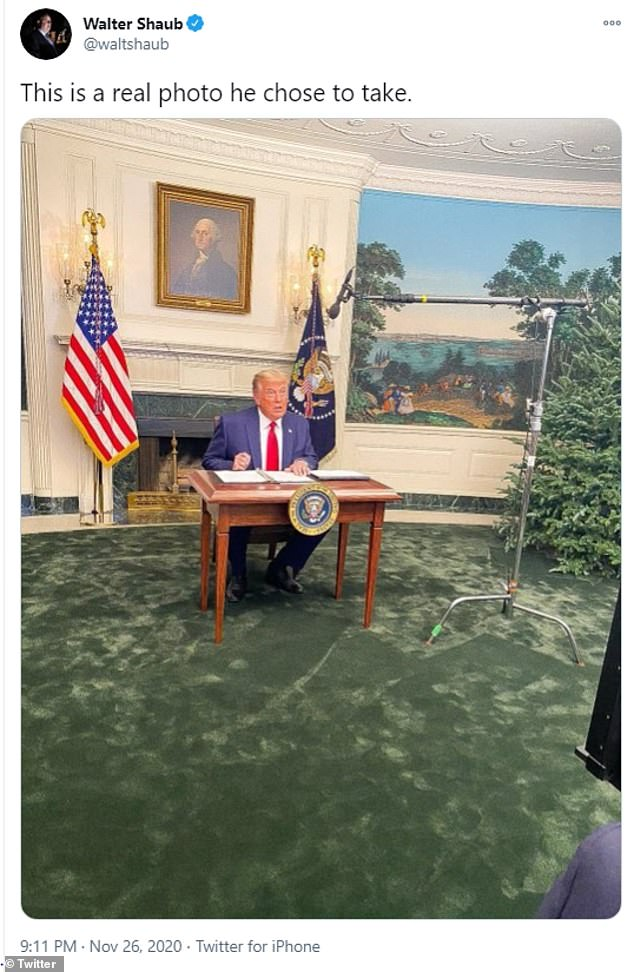 Trump was widely ridiculed on Twitter as social media users mocked the size of the desk that he was photographed sitting at during his Thursday news conference