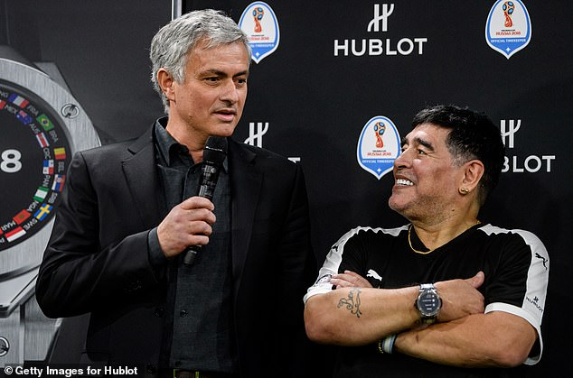 Maradonawas a good friend of the Portuguese boss - the pair pictured together in March 2018