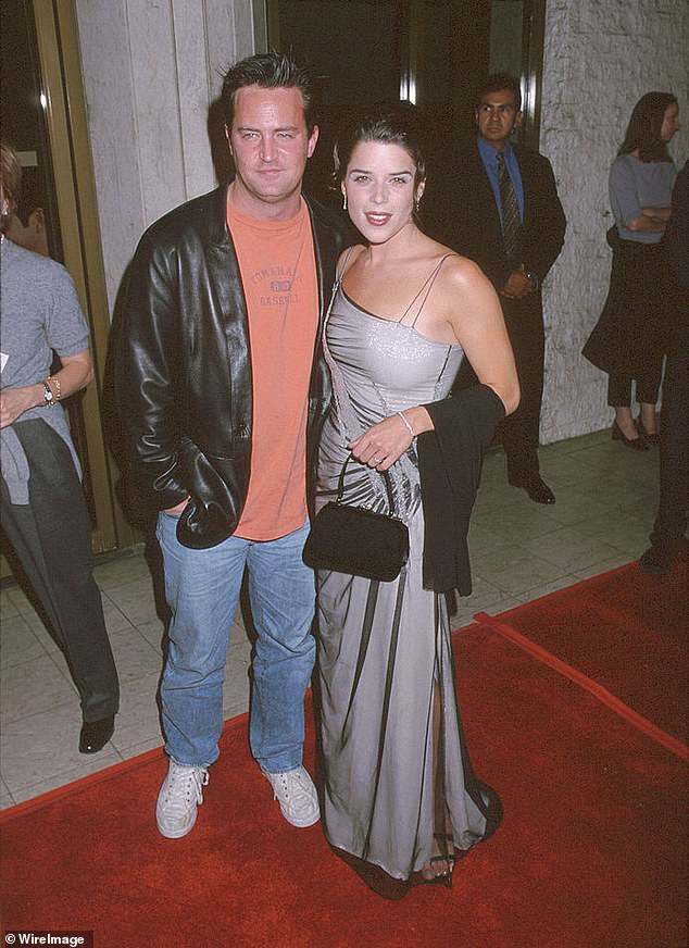Exes; Matthew and Scream star Neve Campbell struck up a romance on the Three To Tango set in 1998 (pictured that year)