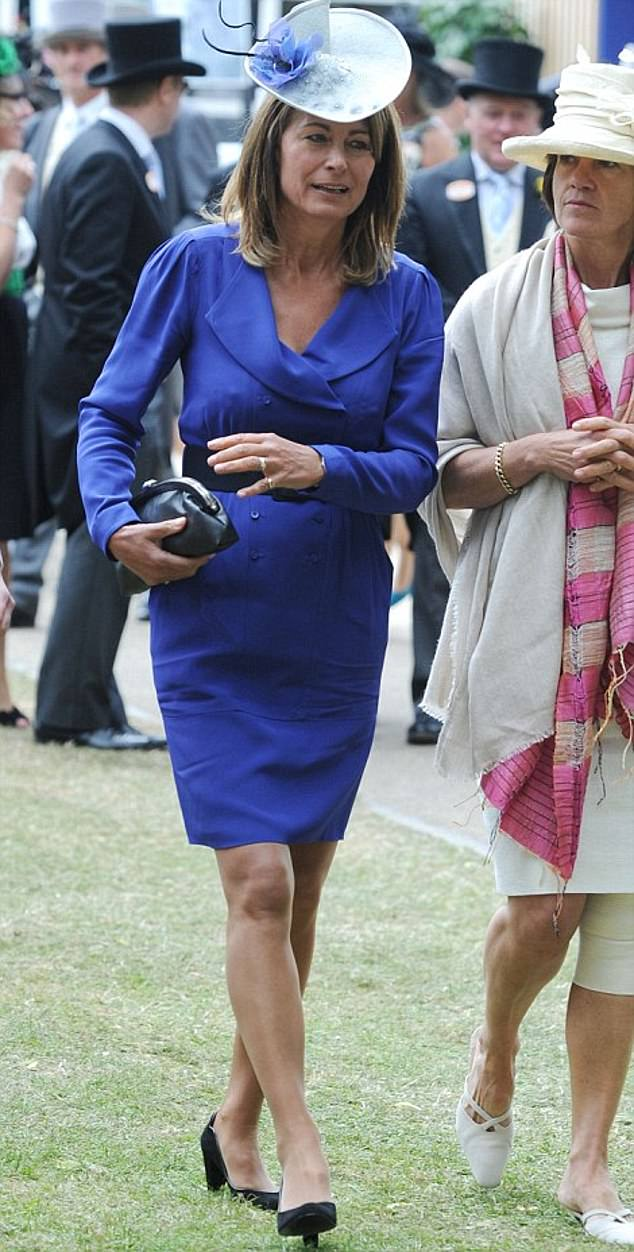 Carole Middleton was spotted wearing the same ensemble to Ascot in 2010 (pictured), and paired it with the same accessories, plus the addition of a chic fascinator