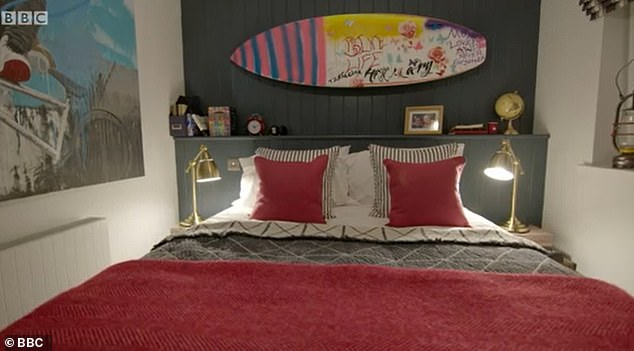 Bedroom one: The boys were each given their own space. Pictured, Ruben's bedroom