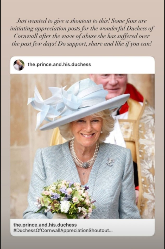 One royal fan account called the Duchess 'wonderful' and encouraged others to support and share snaps for the campaign