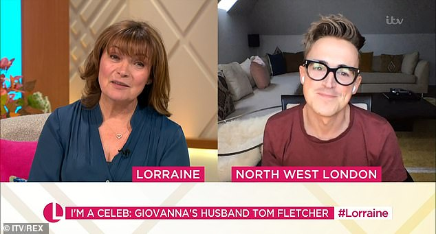 'Strange':Sharing how it feels watching Giovanna on the show, Tom told Lorraine: 'It's so strange, it's the longest we've been apart since we were 13, because we met at school'