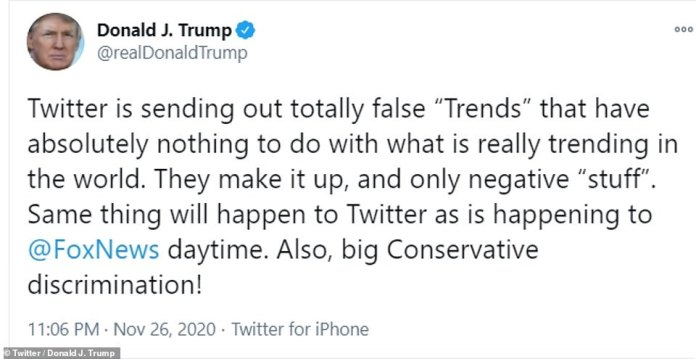 """'Twitter is sending out totally false """"Trends"""" that have absolutely nothing to do with what is really trending in the world,' the president tweeted on Thursday. 'They make it up, and only negative """"stuff""""'"""