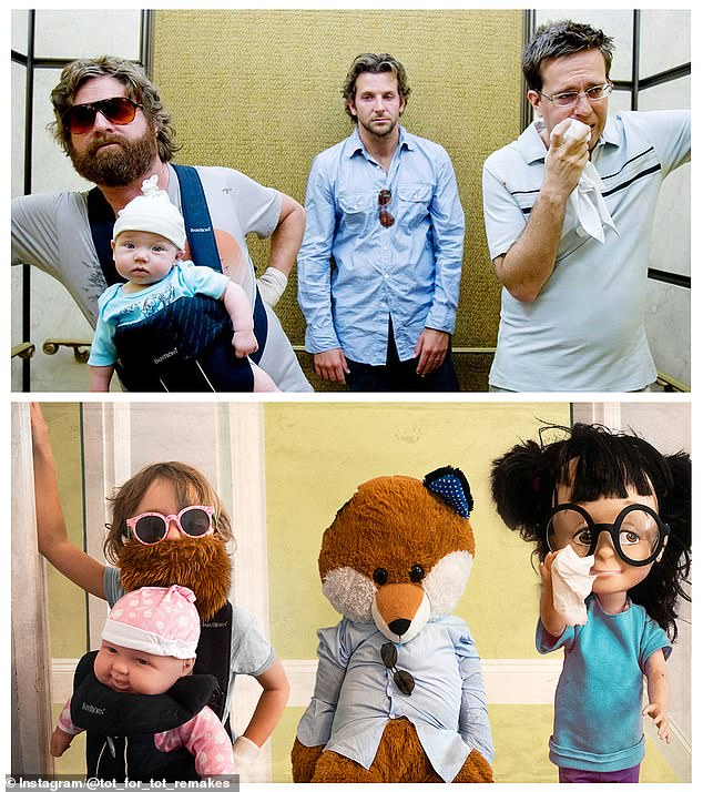 The Hangover: Matilda plays a convincingZach Galifianakis in this mock-up of The Hangover elevator scene. Dolls and a plush toy make up the rest of the Wolf Pack