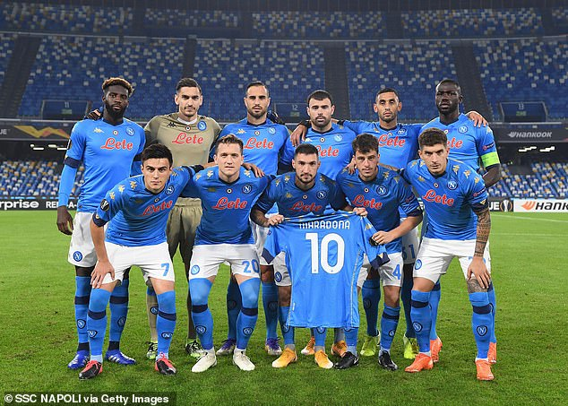 Napoli faced Rijeka at the San Paolo on Thursday, and though their mourning supporters were locked outside the stadium, the club ensured to pay tribute