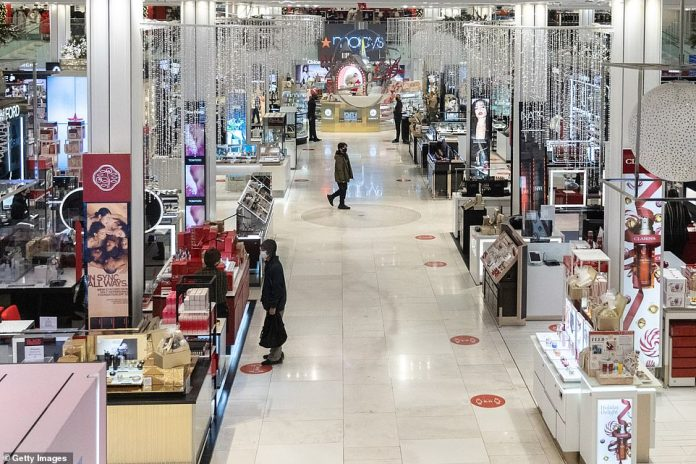 2020: There were hardly any shoppers in Macy's on Friday morning as most New York bargain hunters stayed home and shopped online