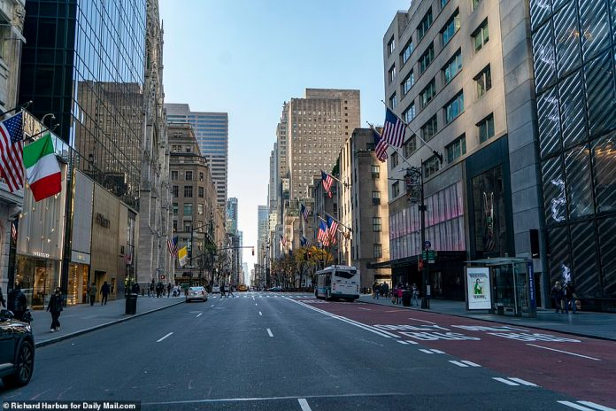 There were no shoppers on Fifth Avenue on Friday despite balmy temperatures and tempting Black Friday sale. Many New Yorkers shopped at home to avoid risking COVID in person
