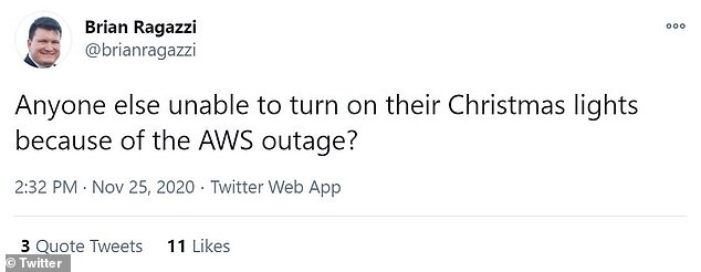 One Twitter user complained his holiday light display was malfunctioning because of the AWS outage. By early Thursday morning, service had been widely restored