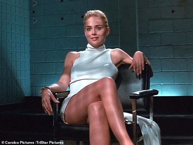 Sexy: The blonde bombshell has remained a global sex symbol since she crossed her legs in the 1992 erotic thriller Basic Instinct
