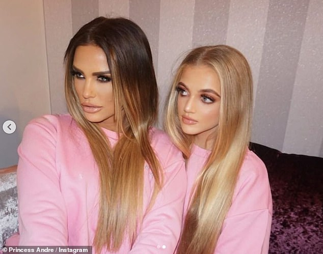 Peter Andre's daughter wrote alongside the photos: 'JUST FOR FUN!  First time I've had my hair and makeup done professionally!  I love this!'