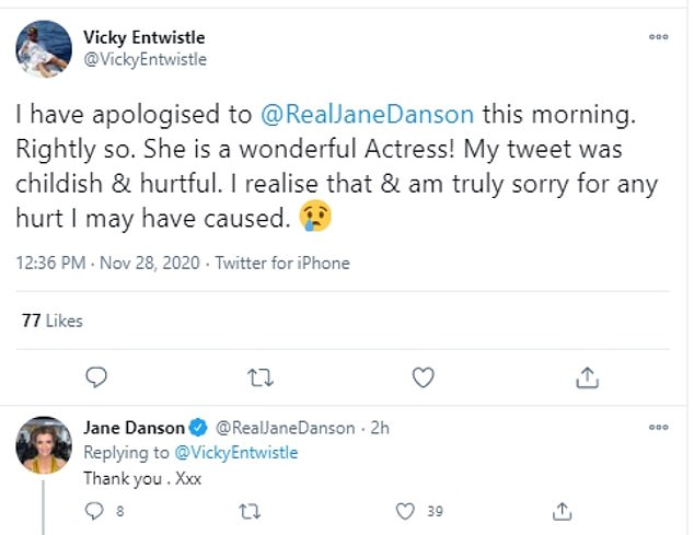 Truce:However, Vicky later took back her harsh critique and issued an apology to her former onscreen daughter