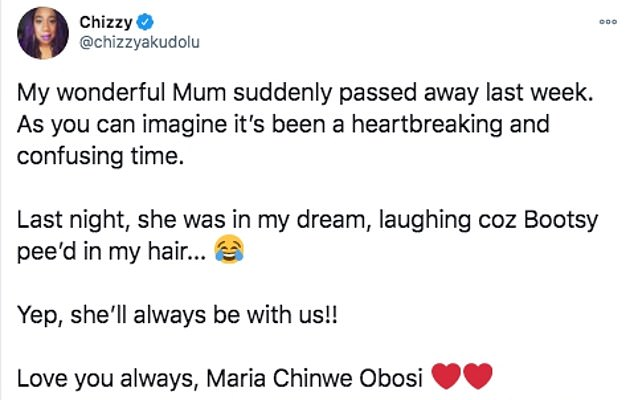 Emotional: The actress, 47, shared the heartbreaking news on Twitter on Saturday, saying she 'passed away suddenly last week'