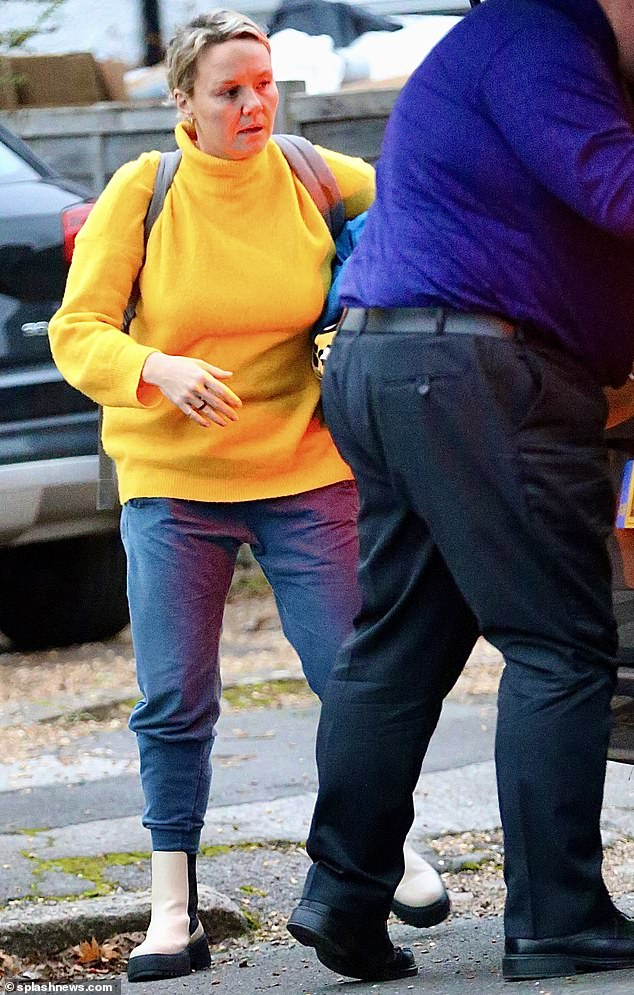 Home time: Charlie Brooks was another celeb thought to have been sent home from isolation in Wales after the plans reportedly changed (pictured arriving back at her home on Friday)