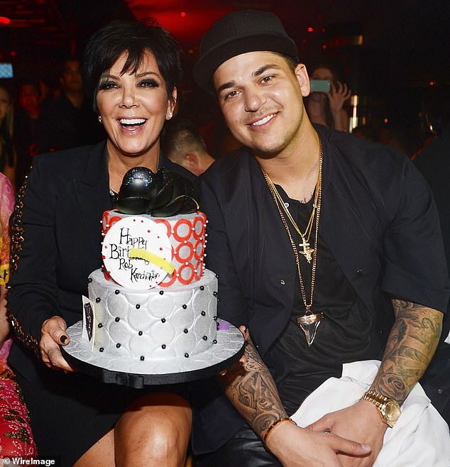 Raised right: Mom Kris Jenner recently praised him:'He's such a great dad and you never know—you have kids, they grow up, they have their kids—and you just don't know how somebody is going to be as a parent but he's just... wow' (pictured in March, 2013)