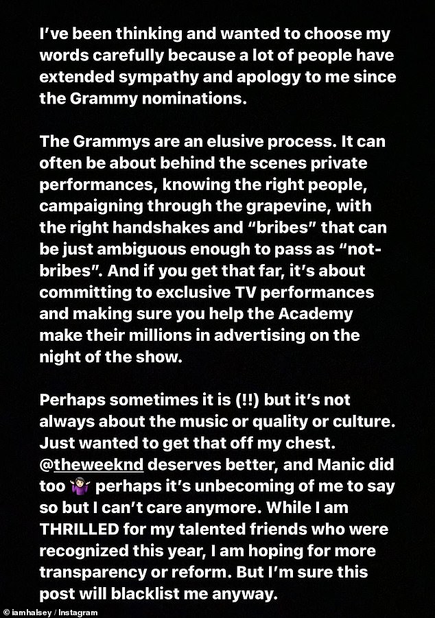 Open book: The pop star, who didn't receive any nominations, talked about how The Grammys are 'an elusive process' that are partly about 'knowing the right people' in a social media post