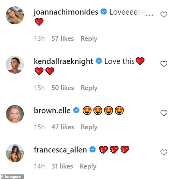 Reaction: Several of the couple's Love Island pals and Maura's Dancing On Ice co-star Trisha Goddard commented on the snaps