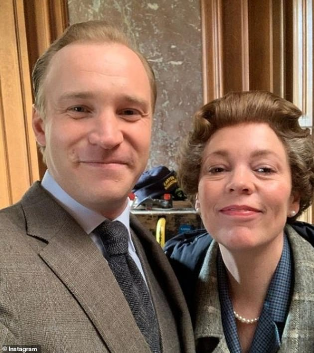 Chummy:Sam also poses with Olivia Colman, who portrays Queen Elizabeth II