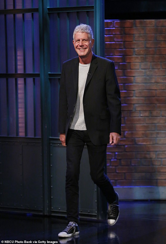 Fond memory: Bourdain, who would do period cooking tutorials on Cooper's show, taught him how to make 'Sunday Gravy' in the 2015 clip; pictured on Late Night With Seth Meyers in 2017