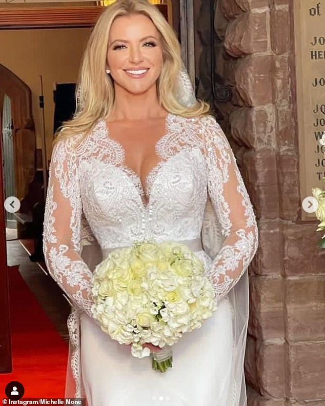 Newlywed:The entrepreneur, 49, tied the knot with Doug, 55, at their Isle of Man mansion on Saturday, with the star unveiling her breathtakingly elegant gown on Instagram