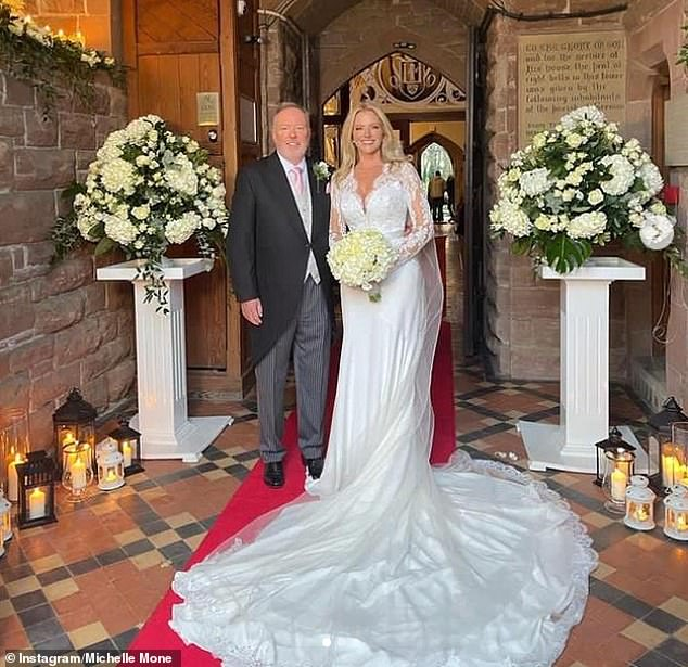 On cloud nine: The businesswoman and the billionaire tied the knot last month in the rule-free Isle of Man after lockdown forced them to delay their ceremony three times