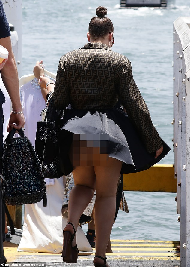 Gone with the wind! Billionaire heiress Francesca Packer suffered an unfortunate wardrobe malfunction as a gust of wind blew up her mini-skirt as she arrived at her 26th birthday party at Sydney Harbour on Sunday