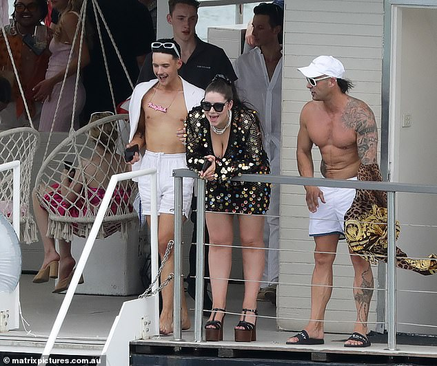 The who's who of Francesca Packer's (middle) 26th birthday party: Inside the exclusive guest list - including posh relatives Ros and Gretel and ex-bikie associate Mark Judge (right)- as the heiress celebrates on Sydney Harbour. Pictured left: Double Bay hairdresser Jacki Mann