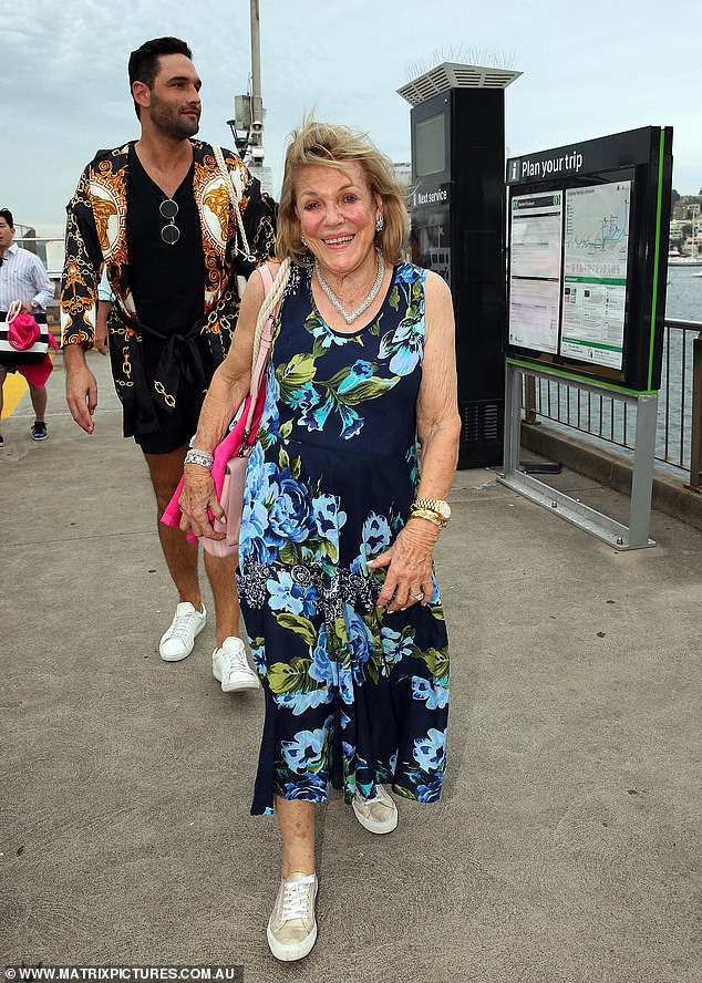 Family ties:While her publicity-shy uncle James Packer wasn't there, her mother, Gretel, and grandmother, Roslyn, 82, (pictured) were seen arriving dressed to the nines
