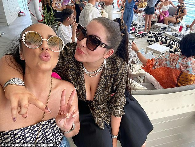 Flashy! Birthday girl Francesca posed for a quick selfie with friend Bianca Roccisano, who is the owner of Booby Tape