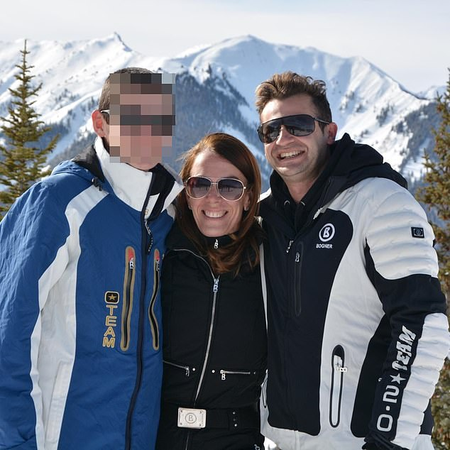 Caddick (centre) splurged $63,000 on holidays to Fiji, $37,000 on a trip to New York as well as $120,000 on several skiing trips to Aspen. Pictured with her husband Anthony (right), who is not accused of wrongdoing