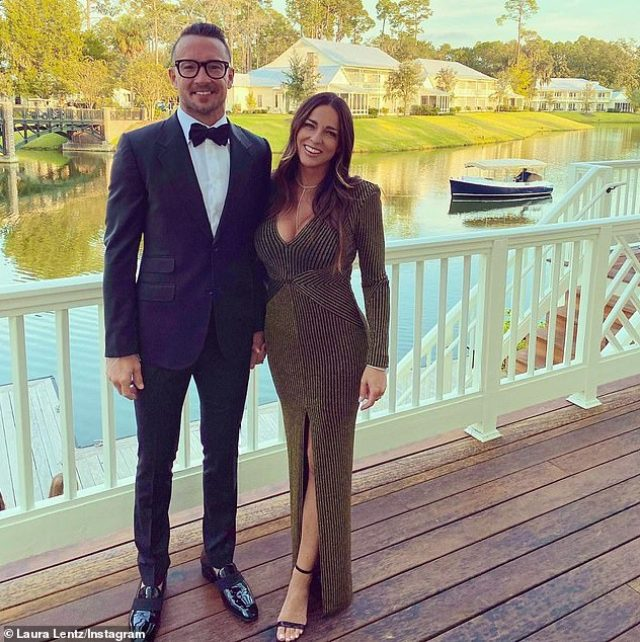 Hillsong is reeling from scandal in which New York head pastor Carl Lentz (left) cheated on his wife of 17 years, Laura (right) and was sacked from his church job for it earlier this month.