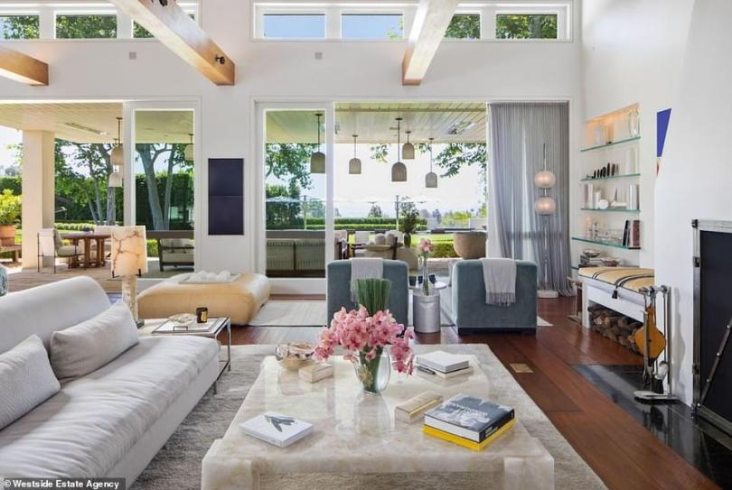Light and airy:There are four bedrooms and six bathrooms in the main dwelling which has a breezy beige and white feel