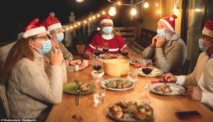 An interactive tool allows people to calculate the risk of catching Covid19 if someone in the room tests positive.  Ventilation and masks were deemed essential.  If a meal cannot be eaten outside, such as during the winter months surrounding Christmas, opening a window can help reduce the risk, as ACBs wear high-quality surgical masks, not cotton blankets ( stock)