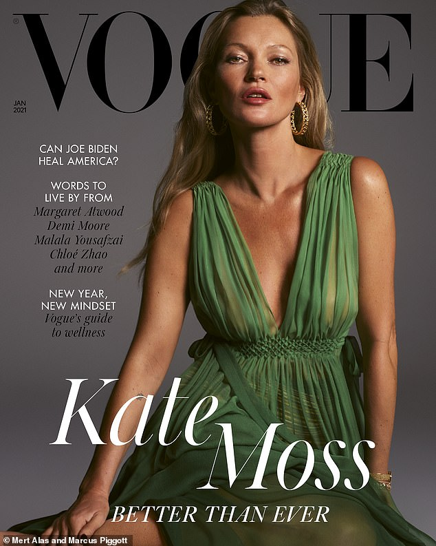 Stunning: Starring on two special covers, the first saw Kate ooze glamour in a sleeveless green chiffon dress that floated across her slender frame as she posed for the cameras