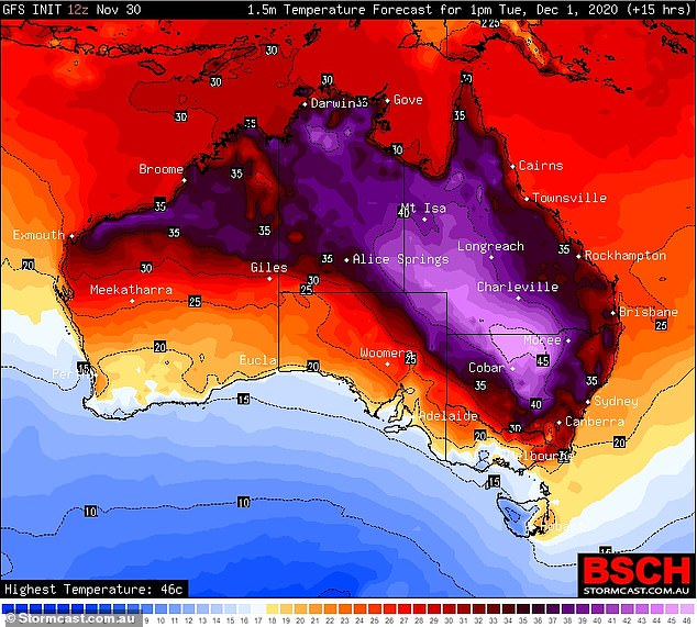 Australia will swelter through its first day of summer, with temperatures expected to soar past 40C on the east coast. Pictured: Map of Australia shows heat forecast for 1pm on Tuesday