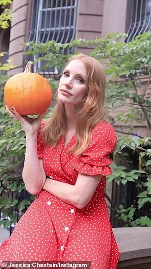 Sending love: She shared a cute Boomerang post of her holding a pumpkin while donning a cute polka dot dress