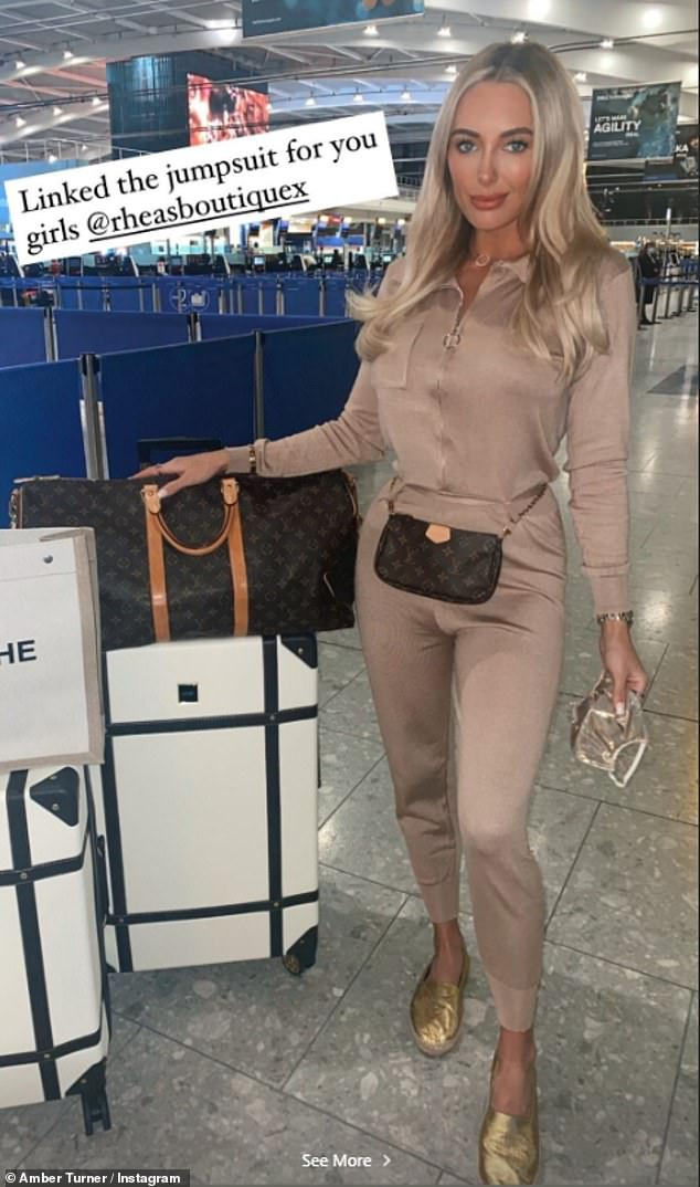 Travelling in style: Taking to Instagram on Monday night, the two TOWIE stars, aged 27 and 30, shared multiple updates from their trip as they flew out of Heathrow Airport, London, for an 'exciting business venture'